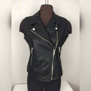 BB Dakota Faux Leather Moto Vest Size Medium